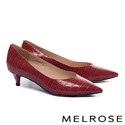 低跟鞋 MELROSE 經典質感鱷魚紋尖頭低跟鞋-紅
