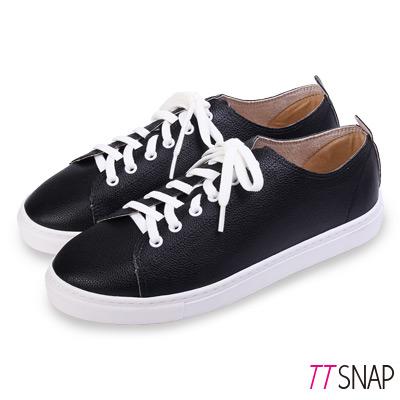 TTSNAP休閒鞋-MIT素面綁帶輕量真皮厚底鞋 黑