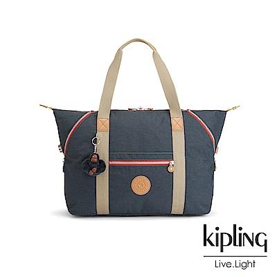 Kipling 深藍撞色拉鍊手提側背包-ART M-ESSENTIAL系列