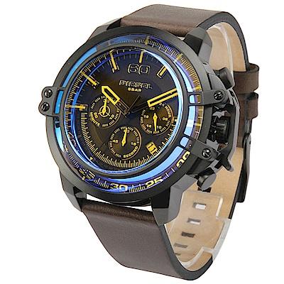 DIESEL Deadeye 藍色錶盤三眼計時皮革腕錶-(DZ4405)-51mm