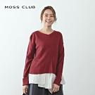【MOSS CLUB】下擺拼接襯衫造型-針織衫(二色)