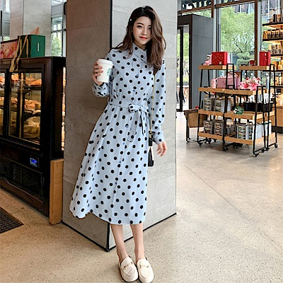 DABI 韓國風時尚波點顯瘦雪紡長袖洋裝