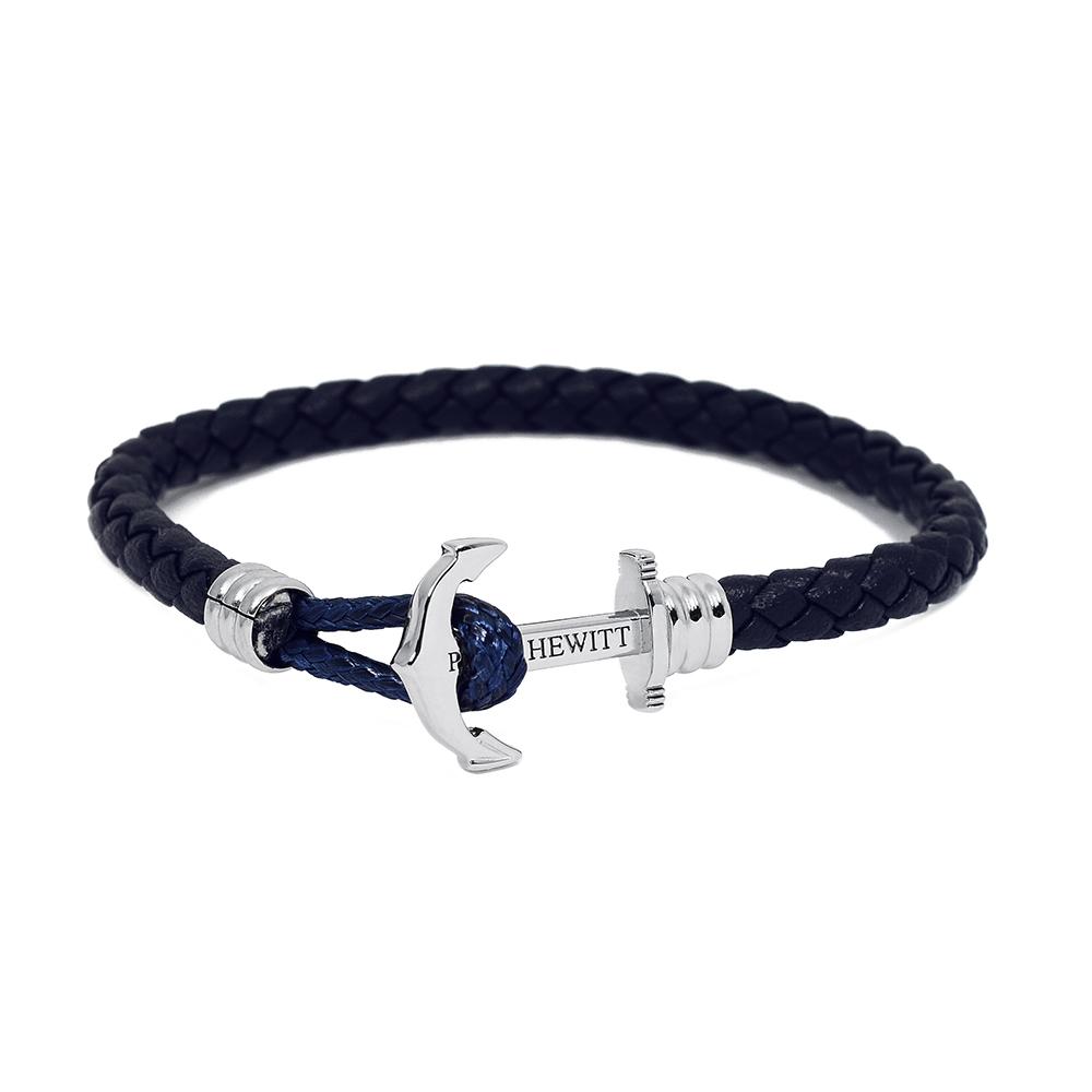 PAUL HEWITT德國出品 海軍藍皮革單圈編織 銀色船錨 手環手鍊