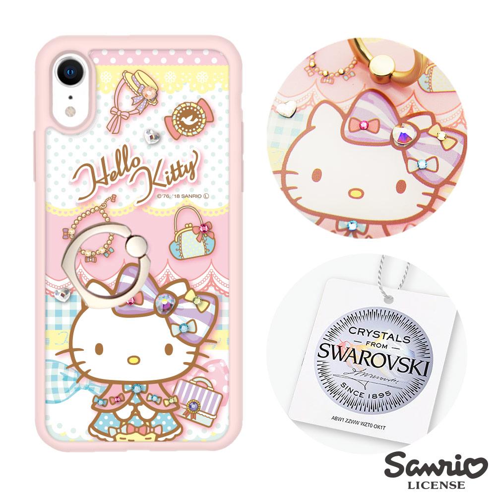 三麗鷗 Kitty iPhone XR 6.1吋施華彩鑽減震指環扣手機殼-淑女凱蒂