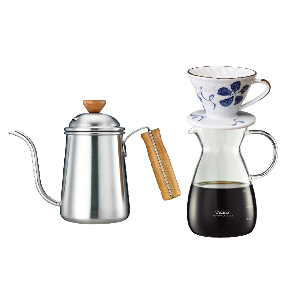 【Tiamo】1403不鏽鋼細口壺0.7L(HA1653)+V01陶瓷咖啡濾杯+玻璃壺
