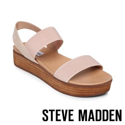STEVE MADDEN-AGILE 彈性寬束帶交叉繫踝厚底涼鞋-粉米