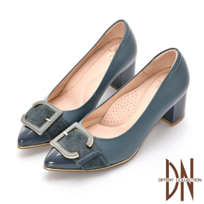 DN跟鞋_典雅造型飾扣全真皮微尖頭跟鞋-藍