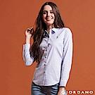 GIORDANO 女裝 Oxford 刺繡彈力牛津紡長袖襯衫-05 藍/白條紋