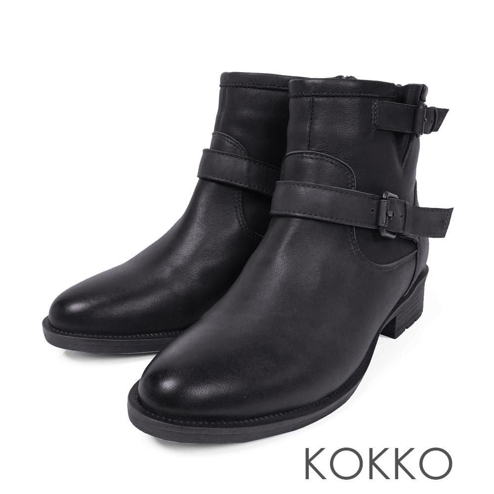 KOKKO-質感柔軟綿羊皮飾釦工程短靴-經典黑