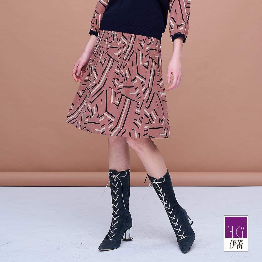 ILEY伊蕾 幾何印花壓摺裙(粉)