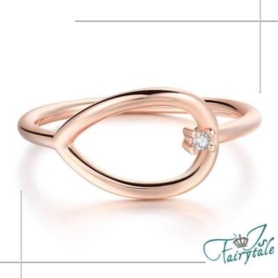 iSFairytale伊飾童話 鏤空圓葉 簡約水鑽玫瑰金戒指 尺寸可選