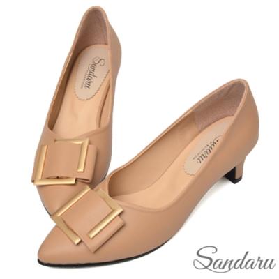山打努SANDARU-尖頭鞋 知性美人方釦中跟鞋-駝