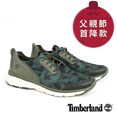 Timberland 男款深綠色皮革印花淺口鞋
