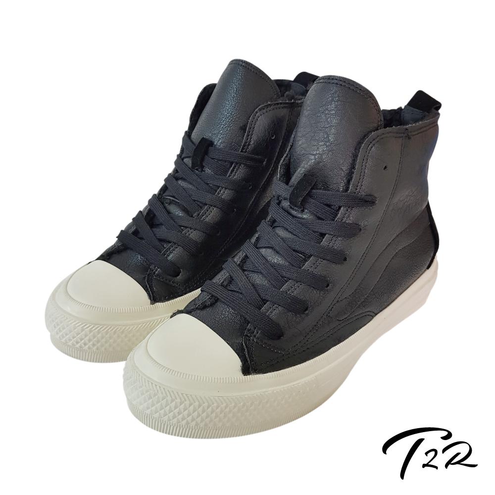 T2R 內鋪毛氣墊增高高筒拼接帆布鞋-黑-增高6cm
