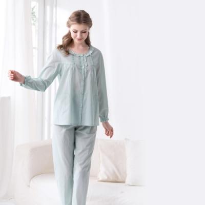 羅絲美 - 小清新點點全門襟長袖褲裝睡衣