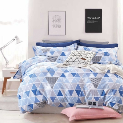 A-ONE 100%純棉-清新H系列-加大床包/兩用被組-蔚藍印象