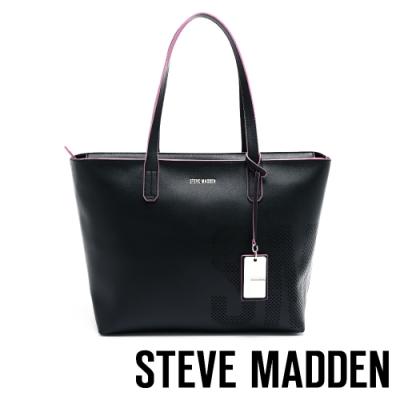 STEVE MADDEN-BDEMI 簡約率性LOGO簍空設計托特包-黑色