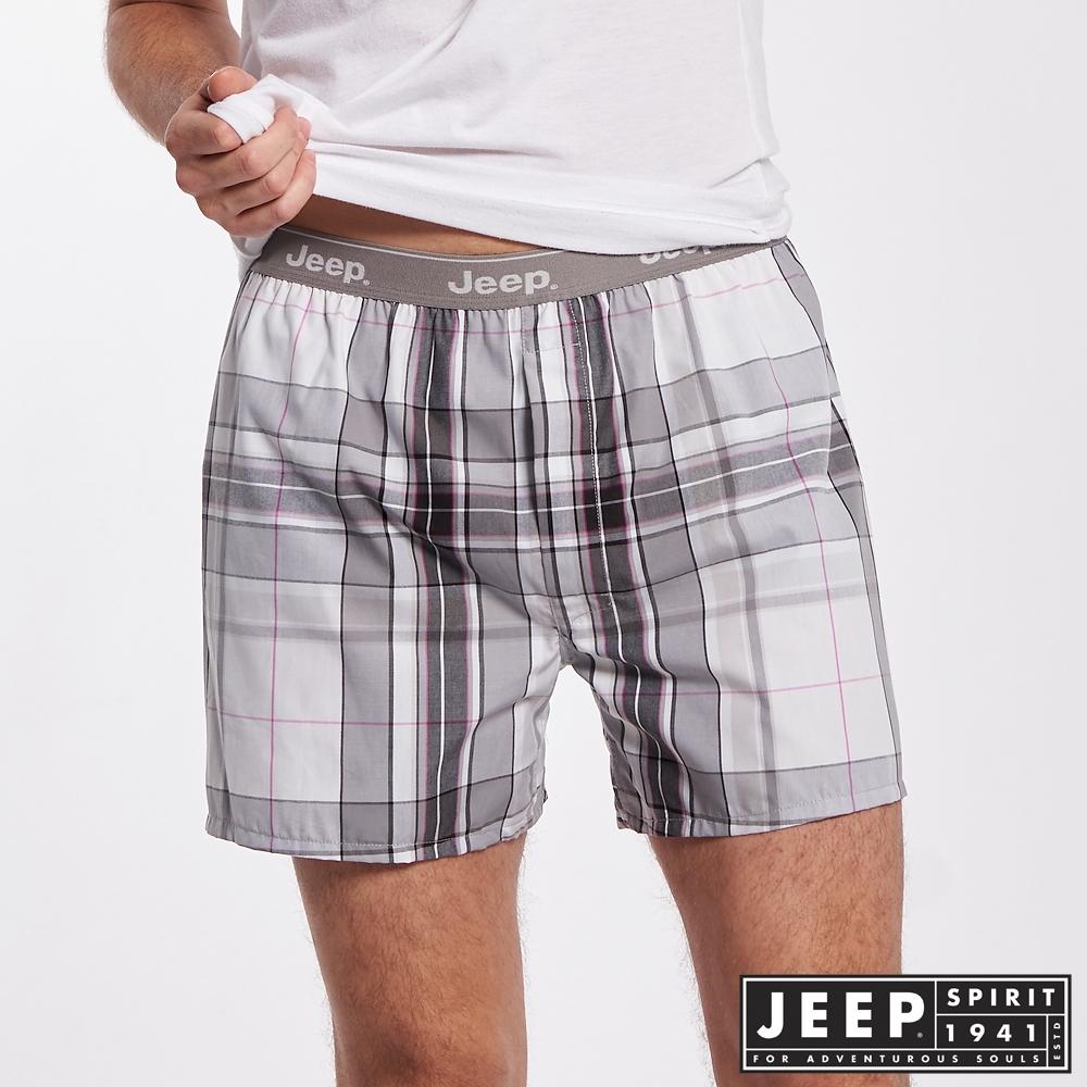 Jeep 男裝 五片式剪裁 純棉平口褲-灰色格紋