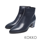 KOKKO - 天邊漫遊素面牛皮尖頭短靴 - 深藍