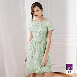 ILEY伊蕾 雙色花朵刺繡蕾絲洋裝(綠)