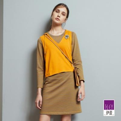 ILEY伊蕾 亮麗真兩件條紋衛衣布洋裝(藍/黃)
