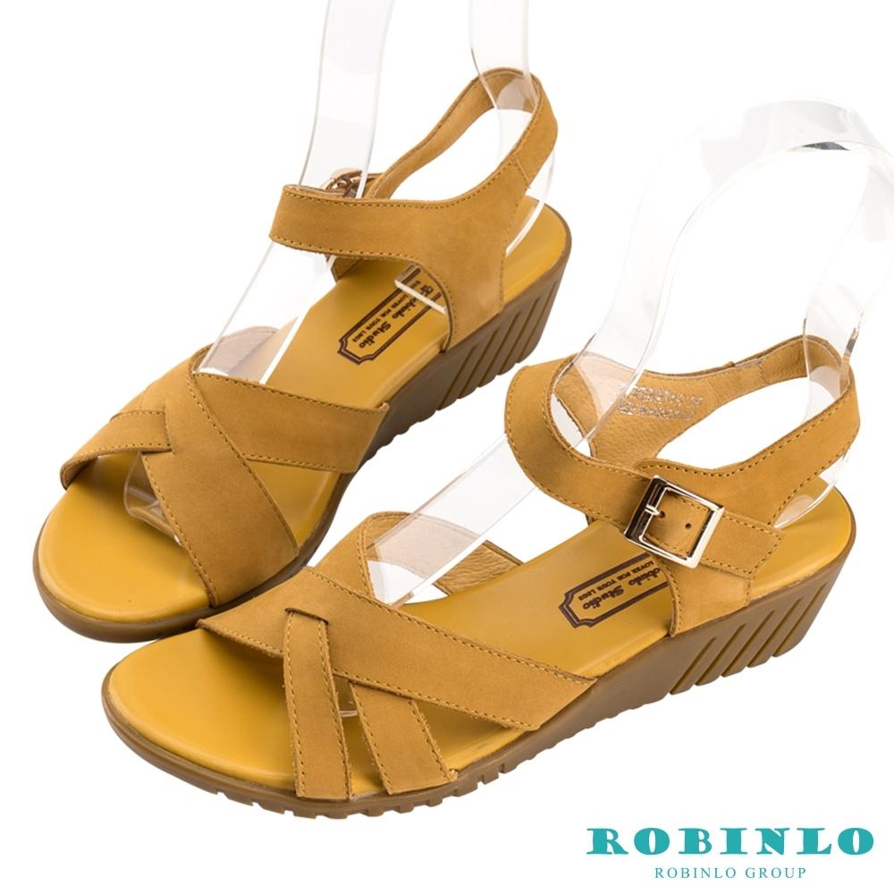 Robinlo優雅寬帶交叉繫踝低跟涼鞋 黃色