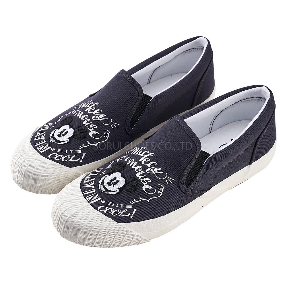 迪士尼親子鞋 米奇 經典帆布休閒餅乾鞋-黑