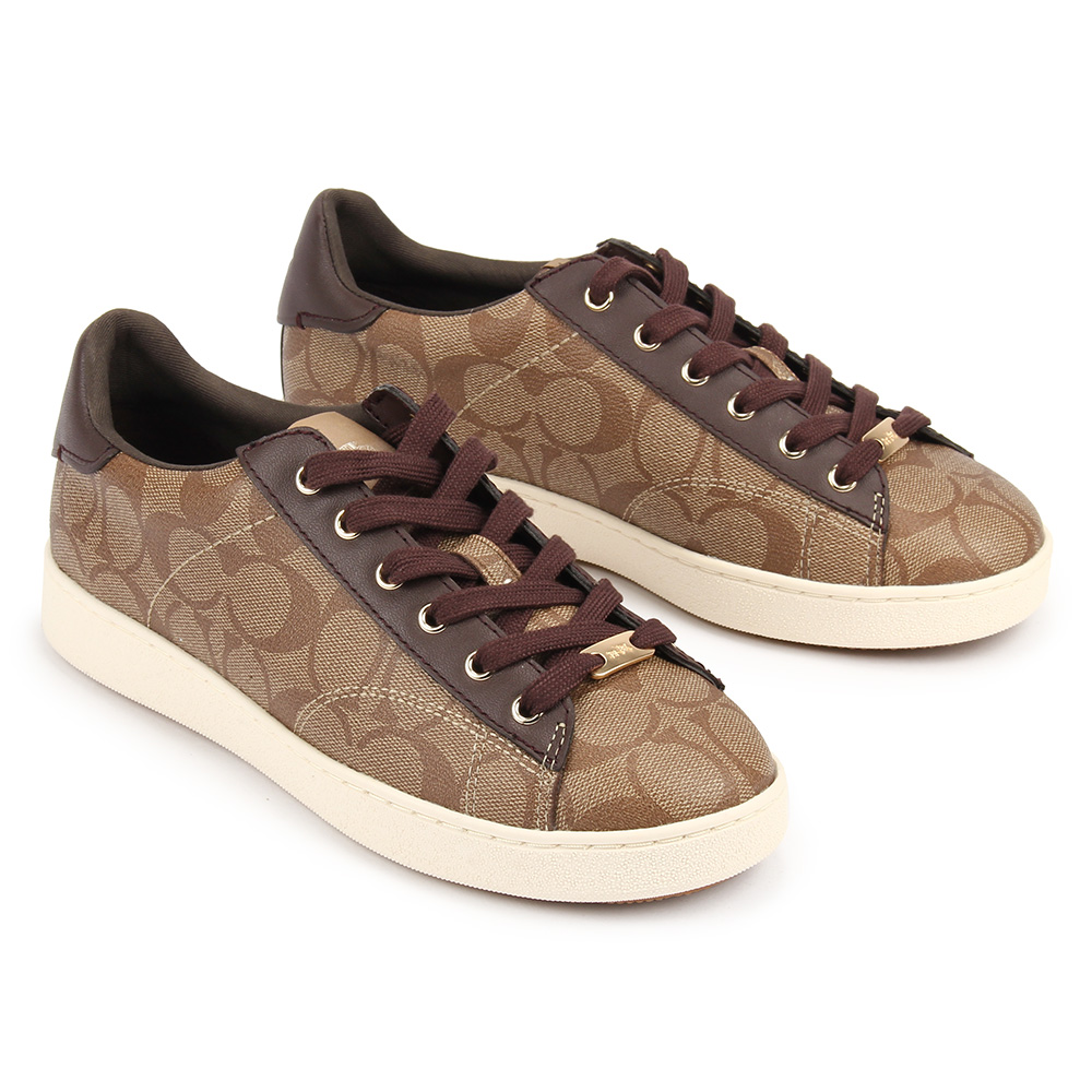 COACH 經典滿版LOGO緹花防水皮革運動休閒鞋(7B)-咖啡色COACH