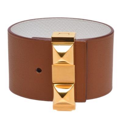 HERMES 金屬鉚釘Epsom小牛皮雙面寬版手環(焦糖棕/白X金)