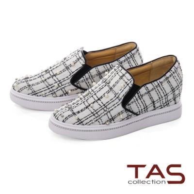 TAS呢絨布拼接鑲鑽串珠厚底懶人休閒鞋-經典白