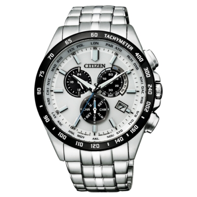 CITIZEN GENT S光動能起程追風計時手錶-銀X白(CB5874-90A)