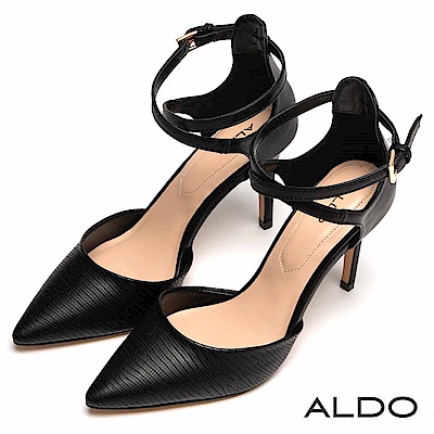 ALDO 原色交叉鏤空金屬釦帶尖頭細高跟鞋~尊爵黑色