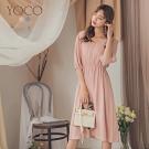 東京著衣-YOCO 韓系淑女V領公主袖縮腰洋裝-S.M.L(共二色)