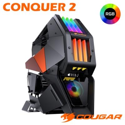 COUGAR 美洲獅 CONQUER 2 整合式RGB炫彩燈效 4片鋼化玻璃側蓋機殼 頂級電競機箱