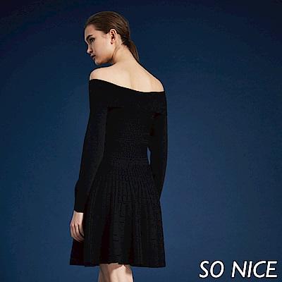 SO NICE質感翻領針織洋裝 @ Y!購物