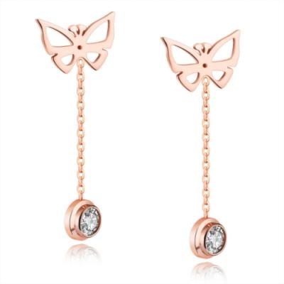 I-Shine-蝶戀-西德鋼-氣質蝴蝶造型鈦鋼耳線耳環DA17
