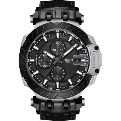 TISSOT 天梭 T-RACE 計時機械錶-黑/45mm T1154272706100