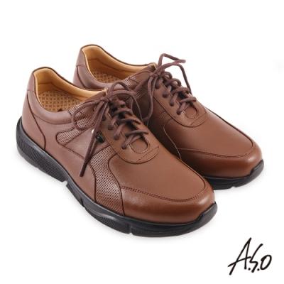 A.S.O 機能休閒 3D超動能綁帶商務休閒鞋-茶