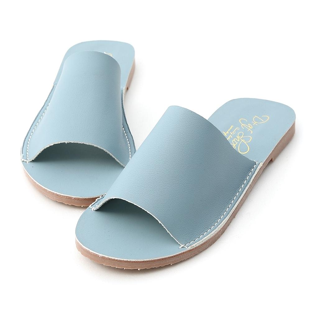 D+AF 愜意搭配.寬版一字超軟平底拖鞋*藍