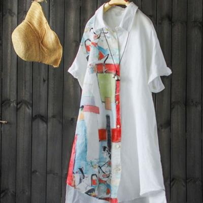中長版寬鬆撞色印花棉麻白色襯衫開衫上衣-設計所在