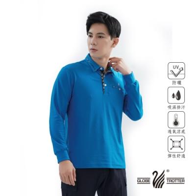 【遊遍天下】男款抗UV吸濕排汗機能POLO長衫GL1015藍色