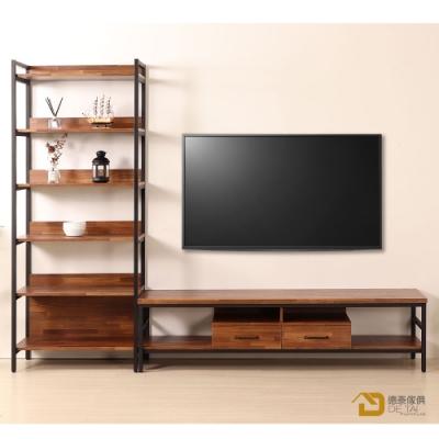 D&T德泰傢俱格萊斯積層木工業風收納展示架+6尺TV櫃-260.8x44.9x196cm