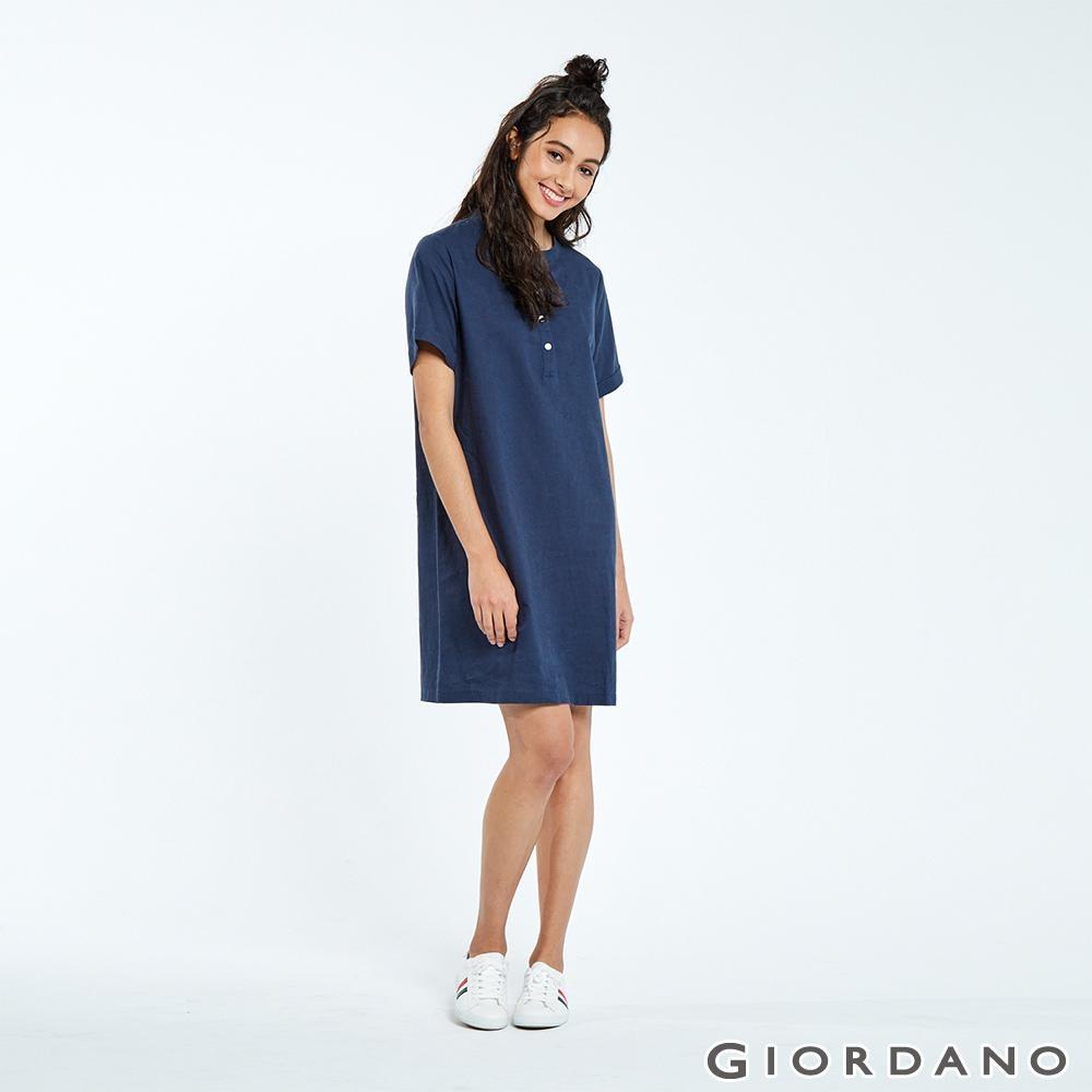 GIORDANO 女裝自然棉麻系列亨利領短袖連身裙-66 標誌海軍藍