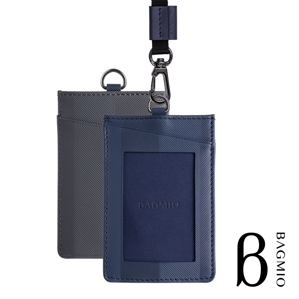 BAGMIO authentic 系列牛皮直式雙色3卡證件套-藍灰 附織帶