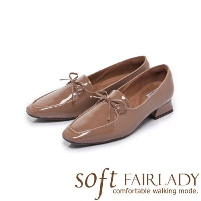 FAIR LADY Soft芯太軟蝴蝶結漆皮方頭樂福鞋 小麥