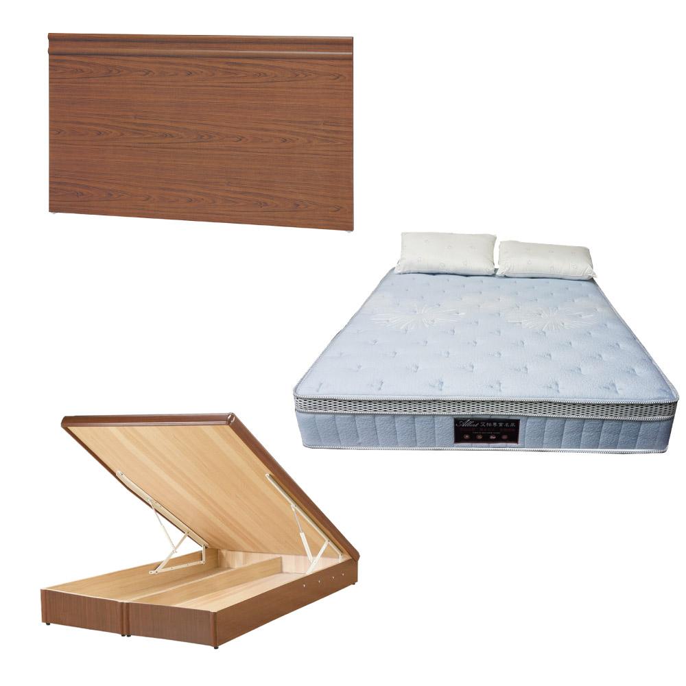 綠活居 可娜6尺雙人加大床台三式組合(床頭片+後掀床底+天絲獨立筒床墊)五色可選