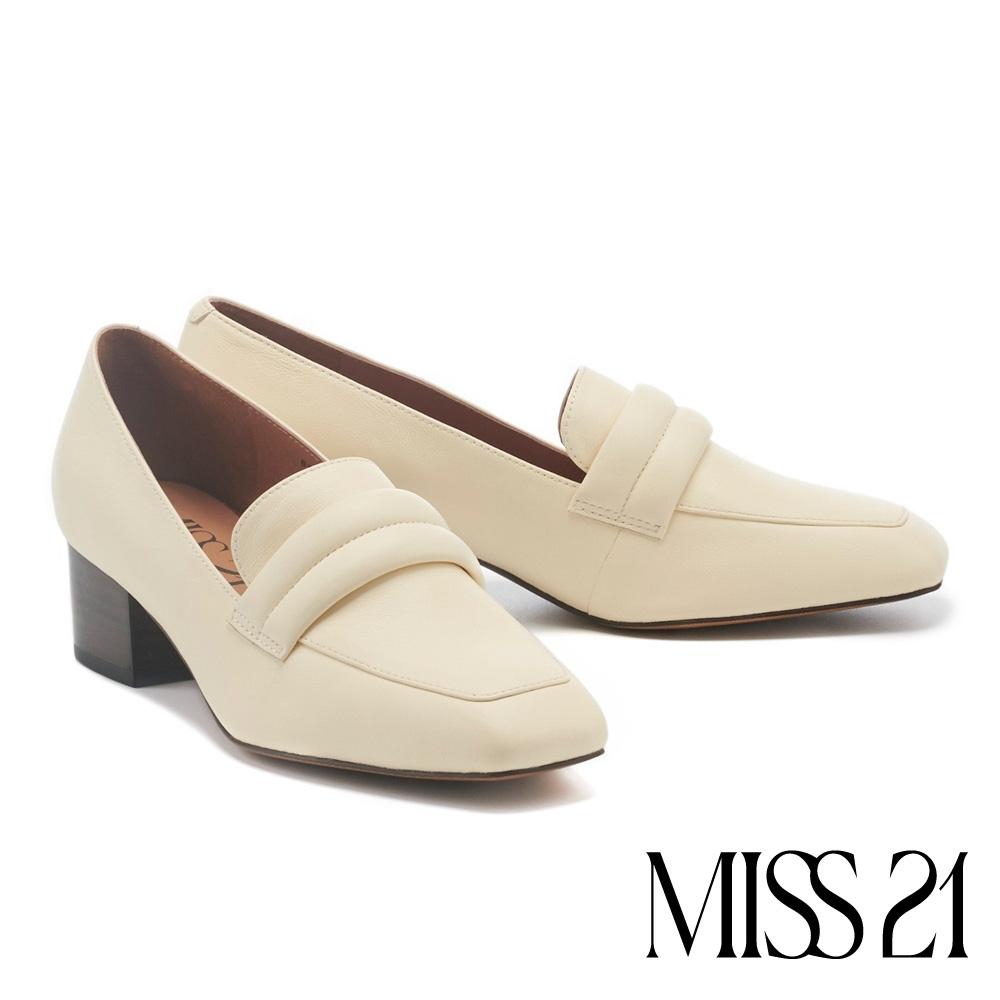 高跟鞋 MISS 21 極簡懷舊條帶方頭樂福粗高跟鞋-奶白