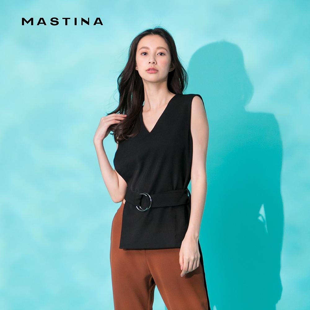 【MASTINA】修身腰帶側身開衩-襯衫(二色)
