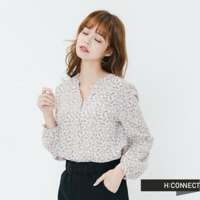 H:CONNECT 韓國品牌 女裝-氣質小花雪紡上衣-白