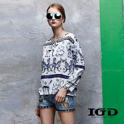 IGD英格麗 手繪動物印花開領綁帶長上衣